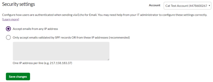 Additional Security Settings - Echo for Email - Esendex Support