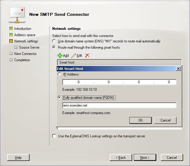 smtp send connector