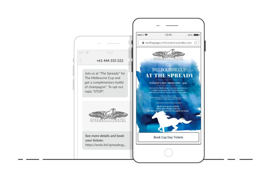 The Spread Eagle Hotel using SMS Landing Pages to promote their event