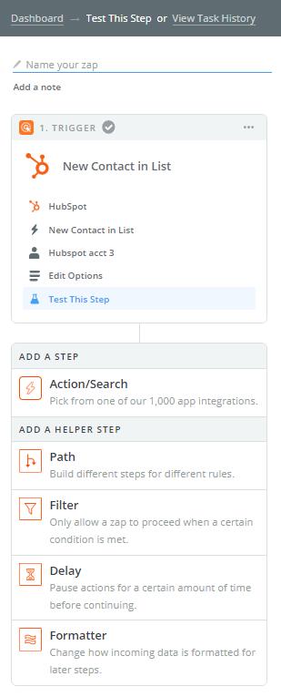 add an action in zapier