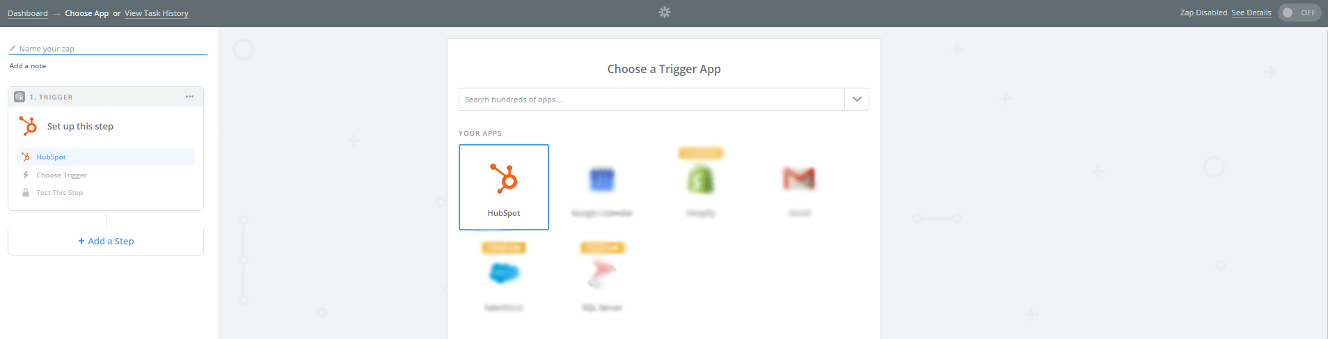 Choose your trigger application within Zapier