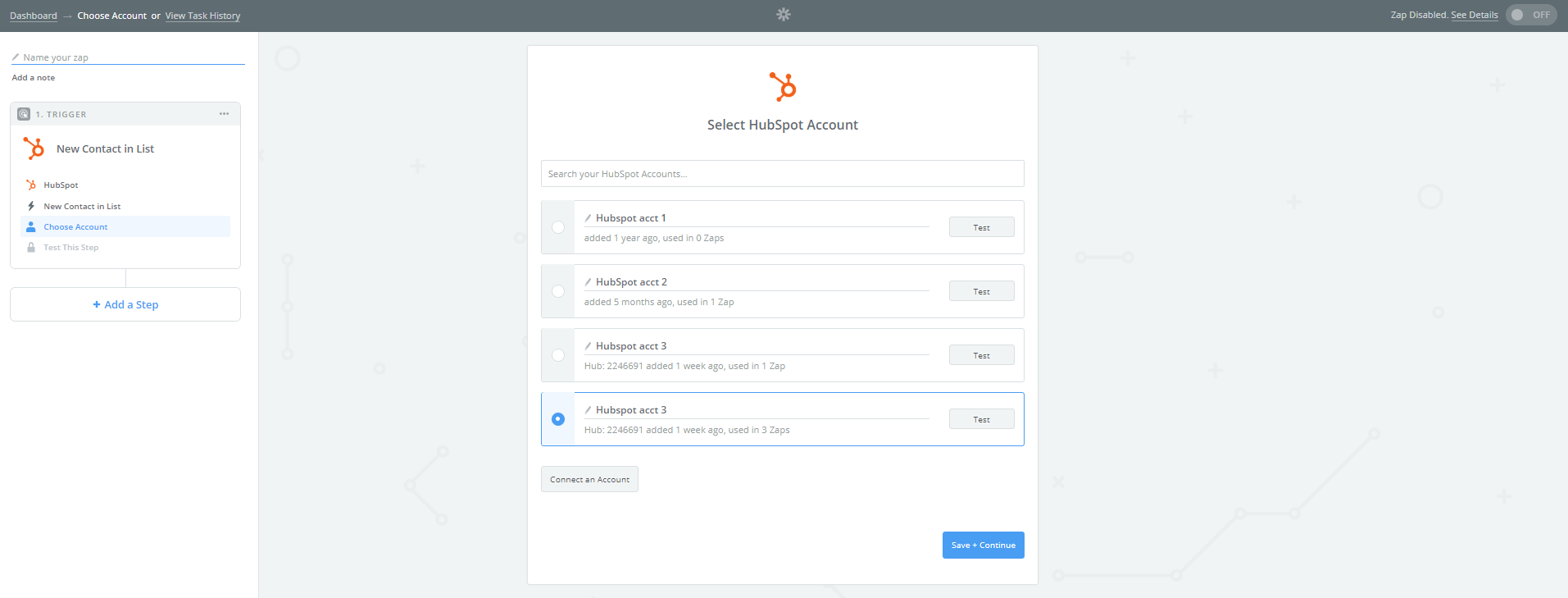 connect your hubspot account through zapier
