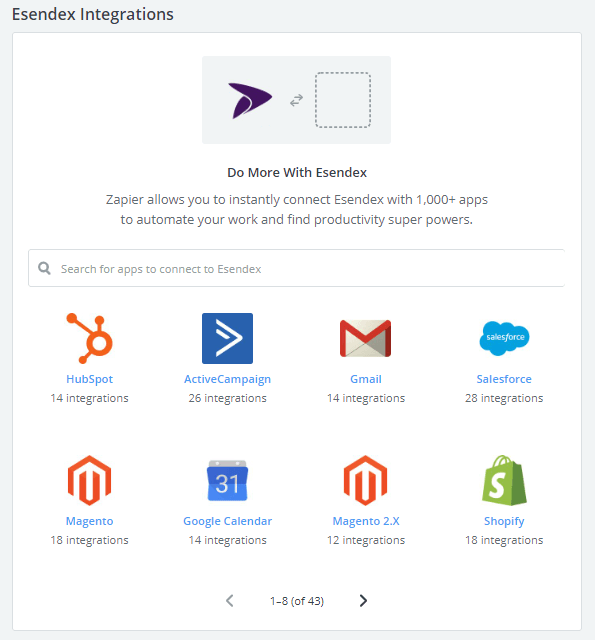 choose which app you want to integrate with using Esendex and Zapier