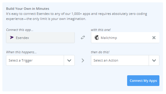choose your applications, triggers and actions and then click connect