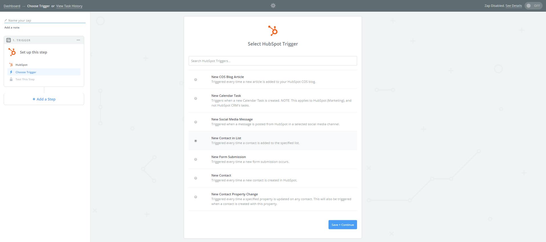 Nuevo contacto en la lista