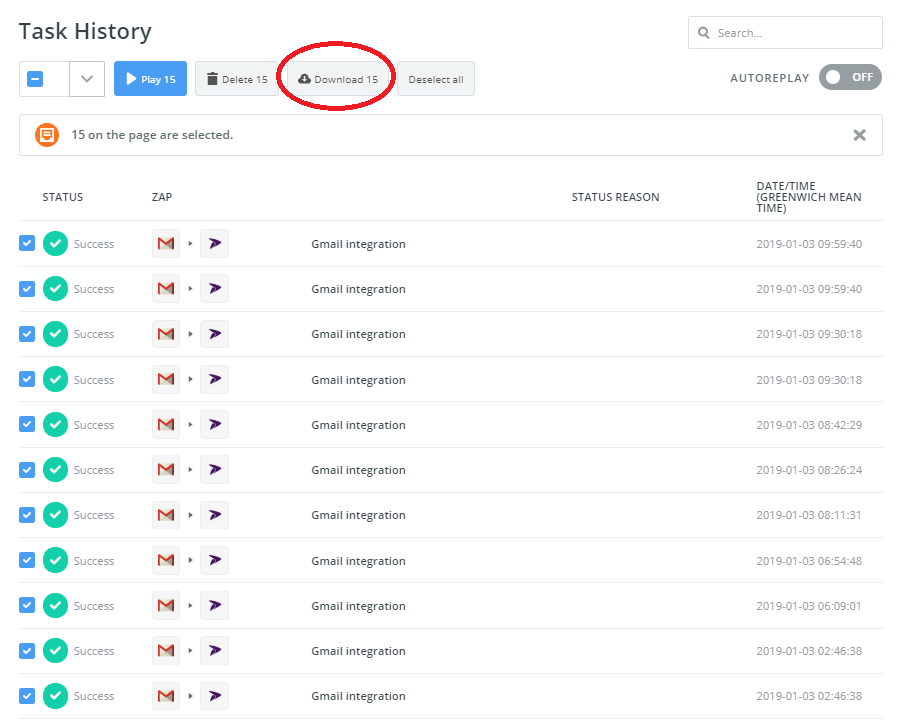Download your task history by selecting all and clicking download within Zapier